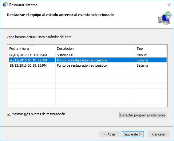 Restaurar sistema paso 2 - Windows 10