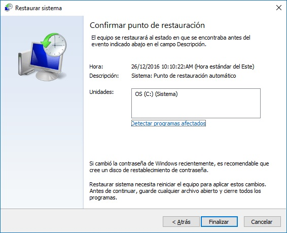 Restaurar sistema paso 4 - Windows 10