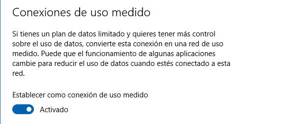 Conexión de uso medido Windows 10