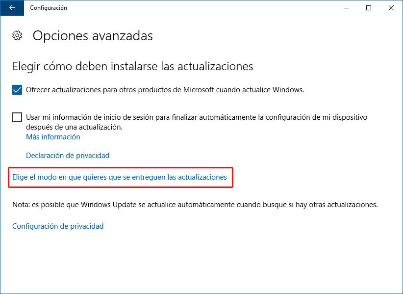 Configuración de entrega de actualizaciones Windows Update - Windows 10