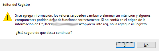 Restaurando sección del registro - Windows 10