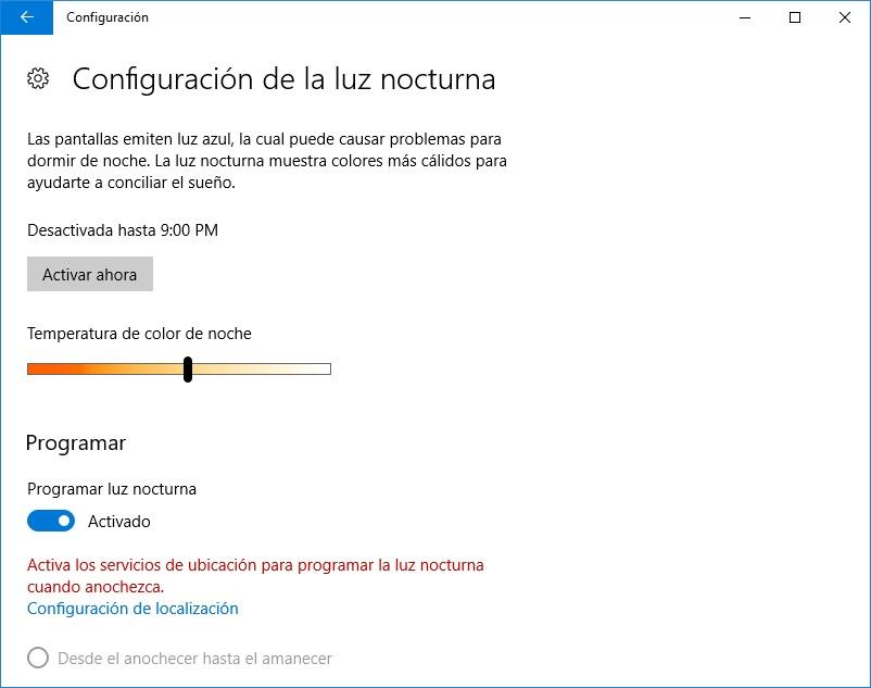 Luz Nocturna - Windows10