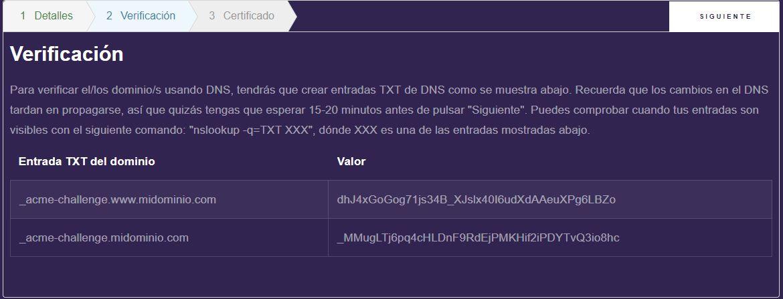 Generando un certificado SSL gratuito - Paso 2