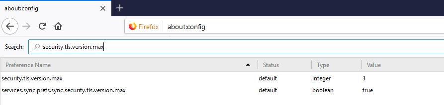 Valor máximo de versión de TLS soportada en Mozilla Firefox