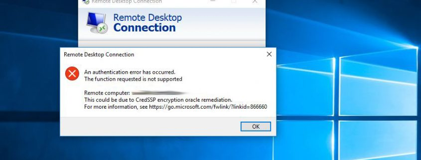 RDP error CredSSP encryption oracle remedation