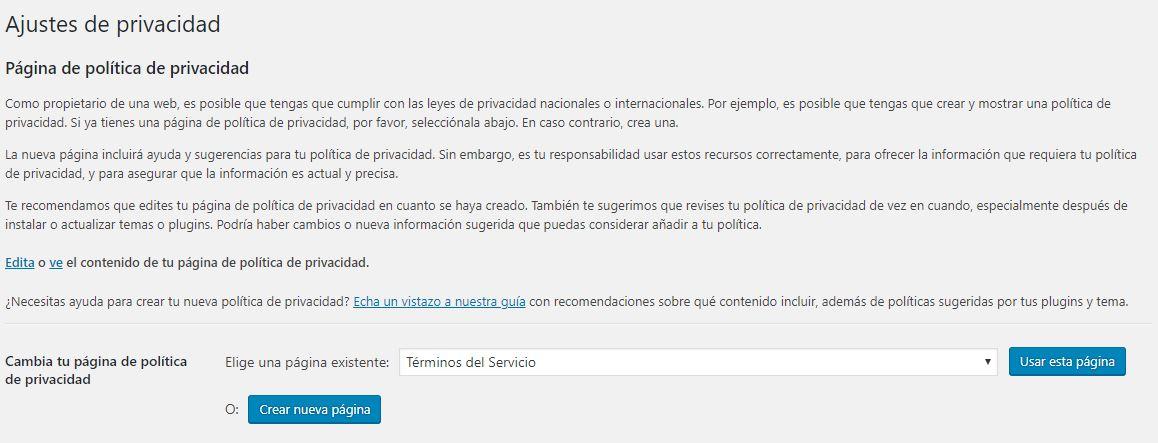 Ajustes de Privacidad en WordPress 4.9.6