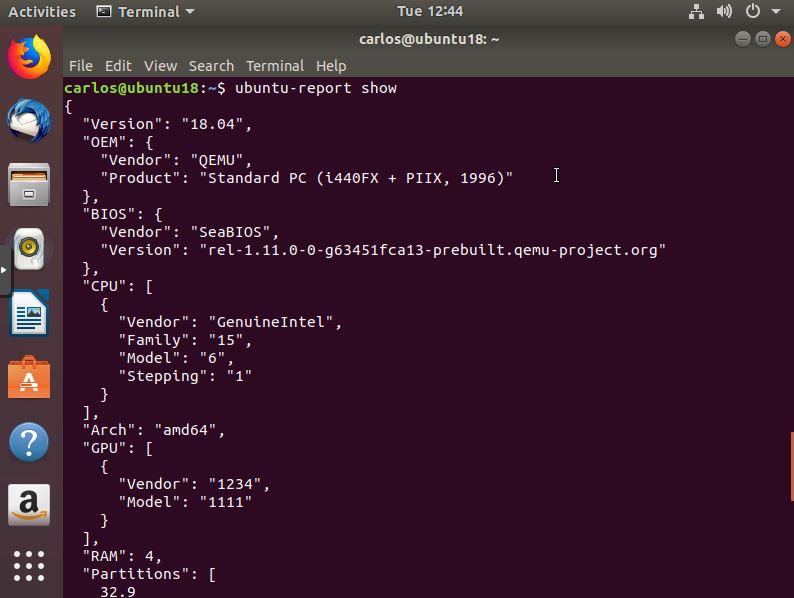 Comando ubuntu-report
