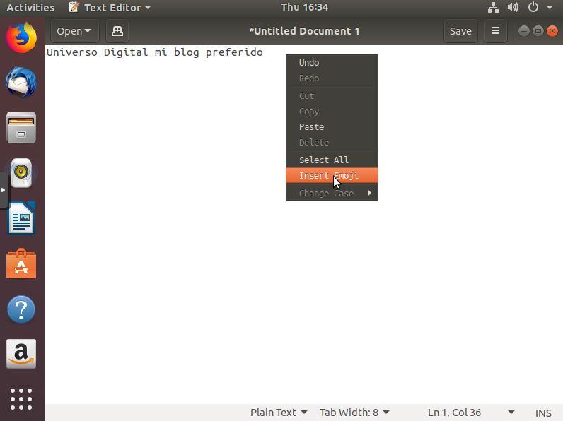 Insertando un emoji en Ubuntu 18.04