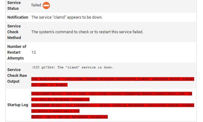 Notificación de estado del servicio clamd mediante checksrvd en cPanel