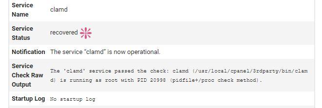 Notificacion de estado operacional clamd en cPanel