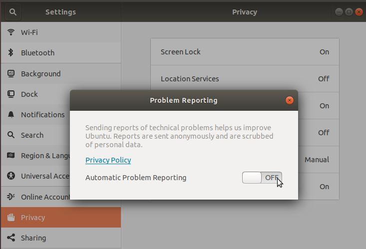 Desactivando el reporte de errores automatizado en Ubuntu 18.04